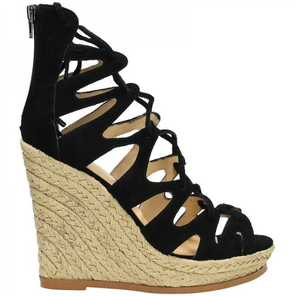 Women's Black Strappy Lace-up Hollow Out Wedge Heels Sandals  image 5