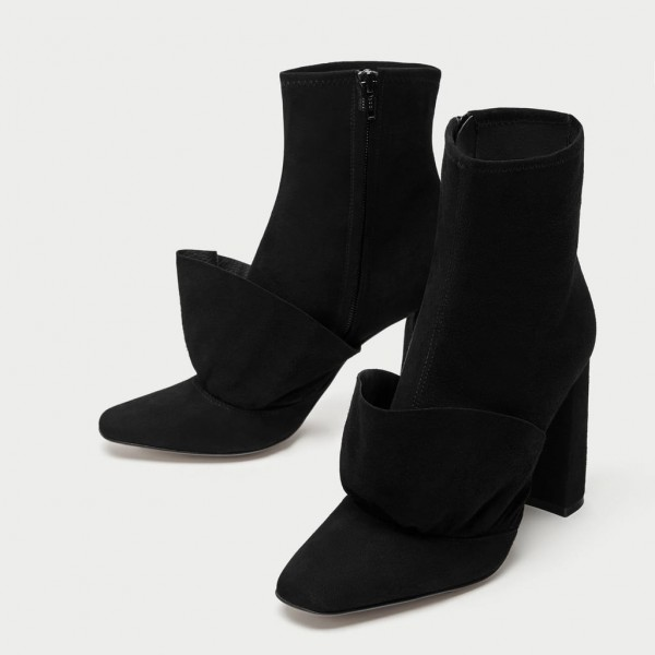 Black Suede Lapel Fashion Boots Classy Square Toe Ankle Boots image 1