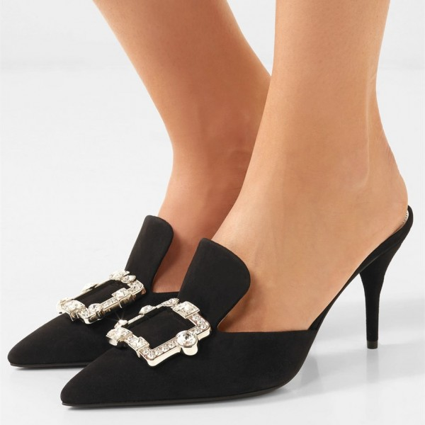 Black Suede Loafers for Women Pointy Toe Stiletto Heel Rhinestone Mule image 1