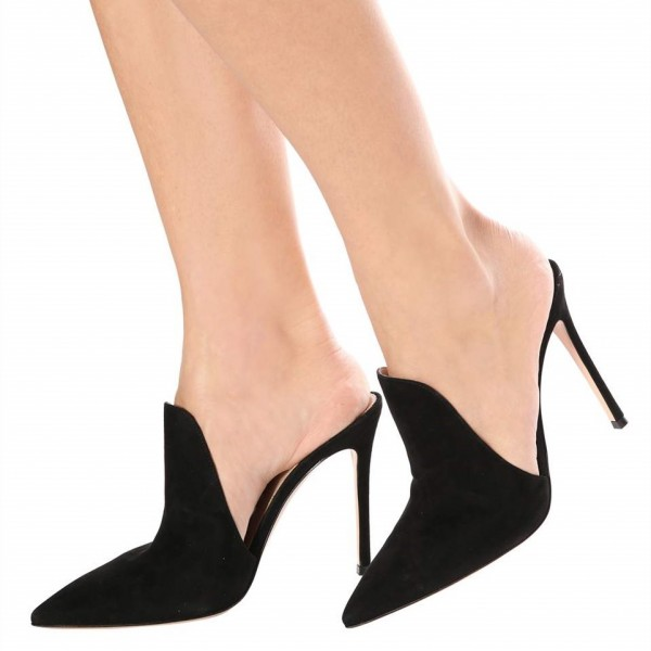 ae7bfa9f0f Black Suede Loafers for Women Pointy Toe Stiletto Heels Mules image 1 ...