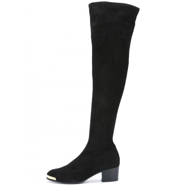 Fashion Black Long Boots Suede Over The Knee Chunky Heels Zip Shoes image 1
