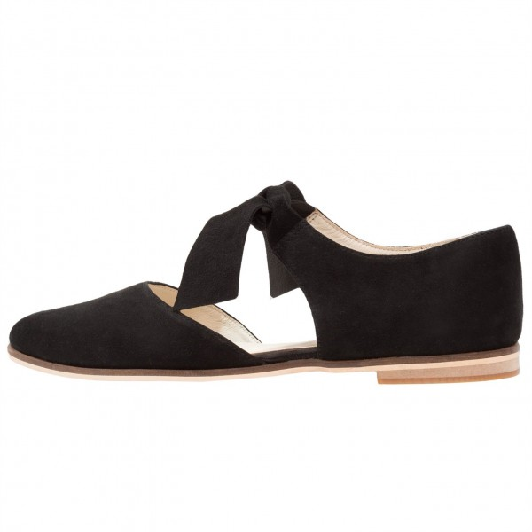 Black Suede Mary Jane Flats Round Toe Vintage Shoes image 2