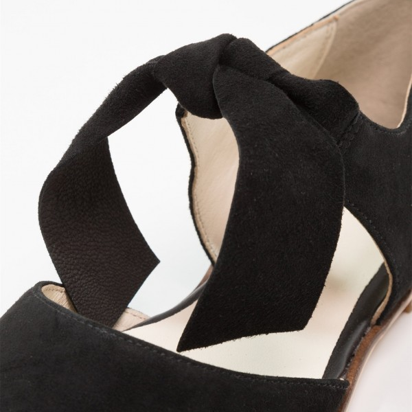 Black Suede Mary Jane Flats Round Toe Vintage Shoes image 3