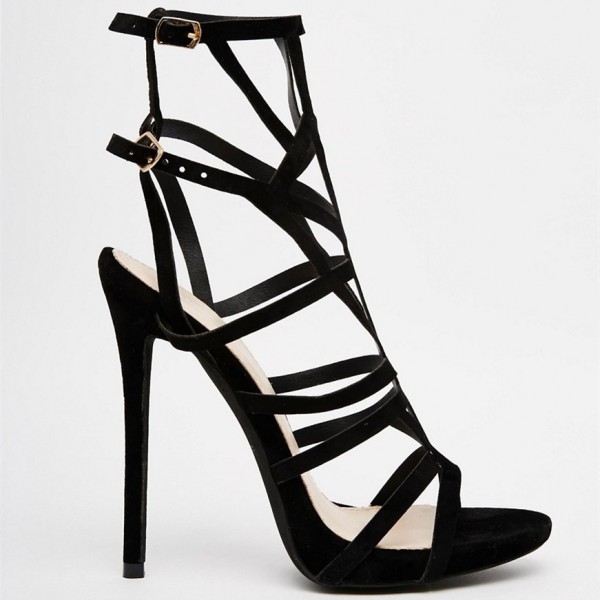 Women's Black Stiletto Heels Caged Sandals image 2