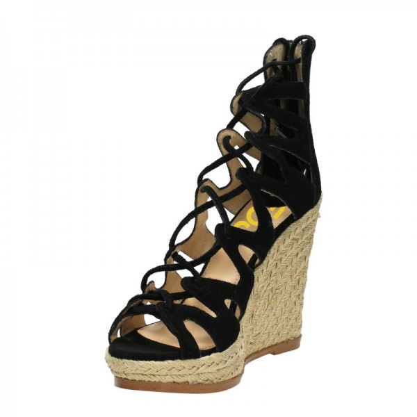 Women's Black Strappy Lace-up Hollow Out Wedge Heels Sandals  image 4