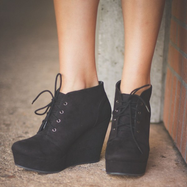 Black Suede Platform Wedge Booties Lace Up Ankle Boots image 1