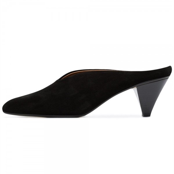 Black Suede Pointy Toe Cone Heel Mule Office Pump image 1