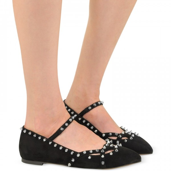 Black Rivets Mary Jane Shoes Pointy Toe Flats School Shoes image 5