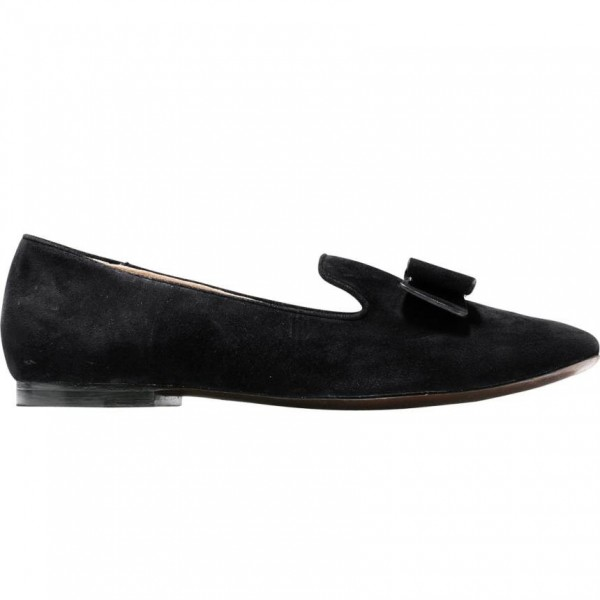 Black Suede Round Toe Bow Loafers for Women Comfortable Flats image 2