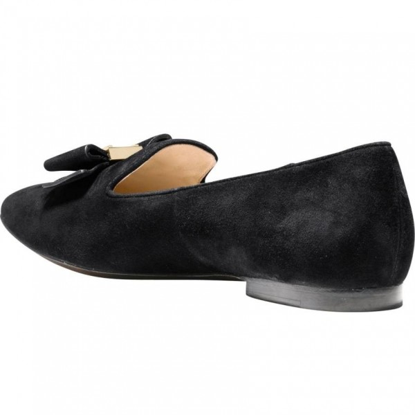 Black Suede Round Toe Bow Loafers for Women Comfortable Flats image 3