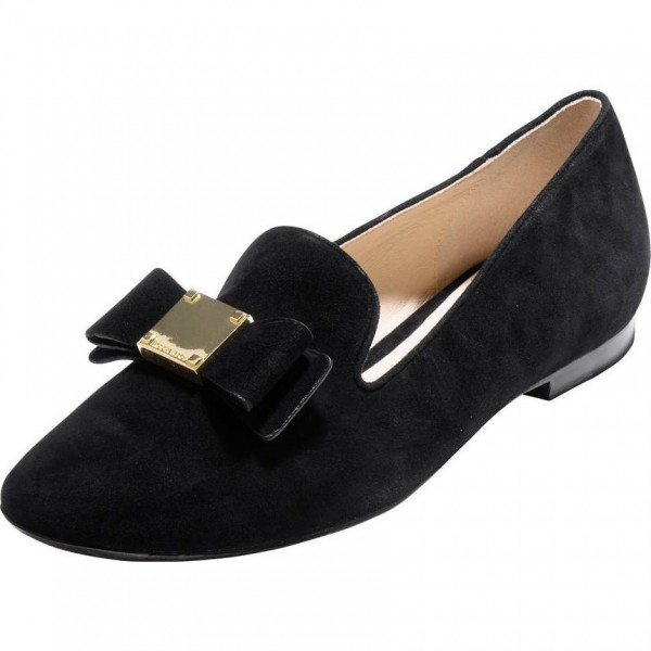 Black Suede Round Toe Bow Loafers for Women Comfortable Flats image 1