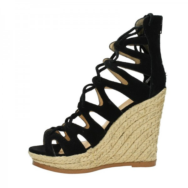 Women's Black Strappy Lace-up Hollow Out Wedge Heels Sandals  image 6