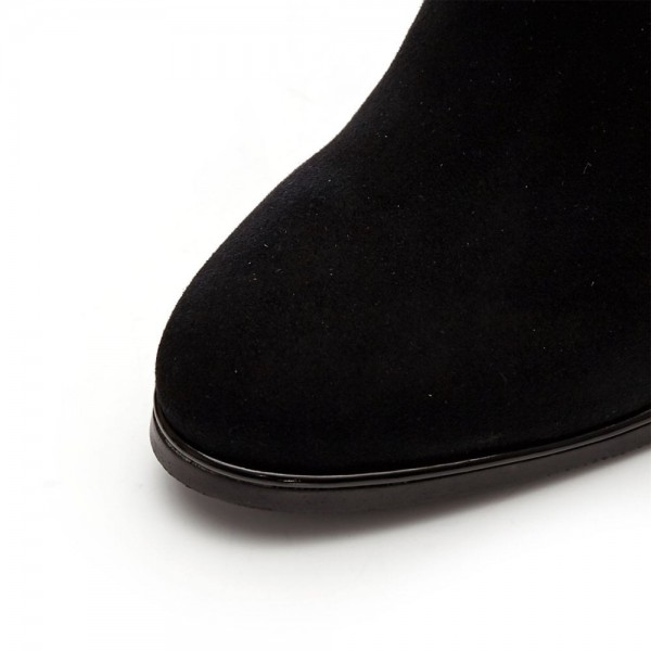 Black Suede Slouch Boots Button Chunky Heel Ankle Booties image 5