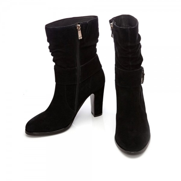 Black Suede Slouch Boots Button Chunky Heel Ankle Booties image 2