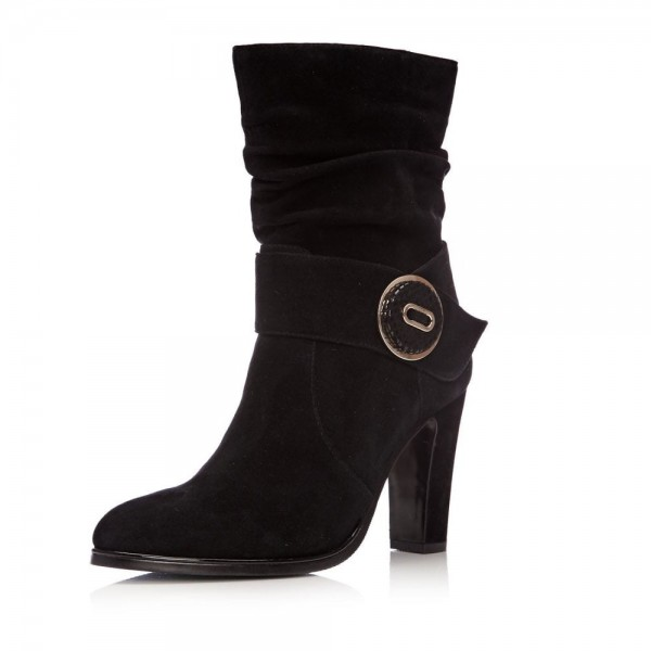 Black Suede Slouch Boots Button Chunky Heel Ankle Booties image 3