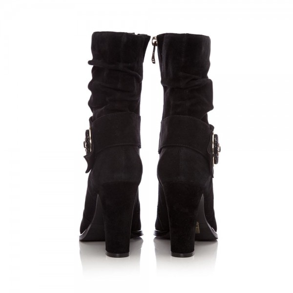 Black Suede Slouch Boots Button Chunky Heel Ankle Booties image 6