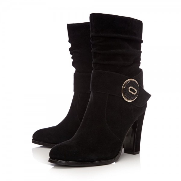 Black Suede Slouch Boots Button Chunky Heel Ankle Booties image 1
