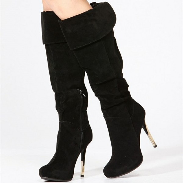 6de47306177 Black Suede Slouch Boots Stiletto Heels Knee-high Boots by FSJ image 1 ...