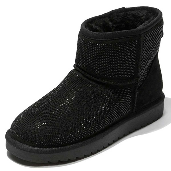 Black Suede Snow Boots Rhinestone Hotfix Short Winter Boots image 1