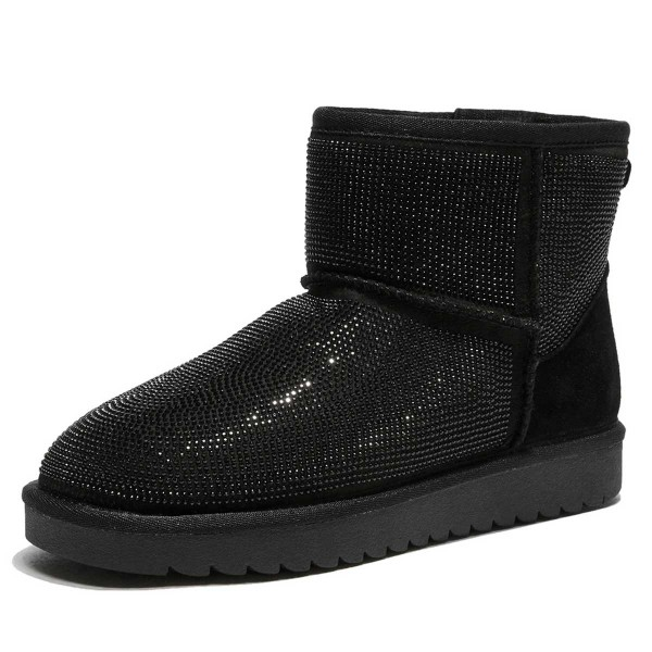 Black Suede Snow Boots Rhinestone Hotfix Short Winter Boots image 4