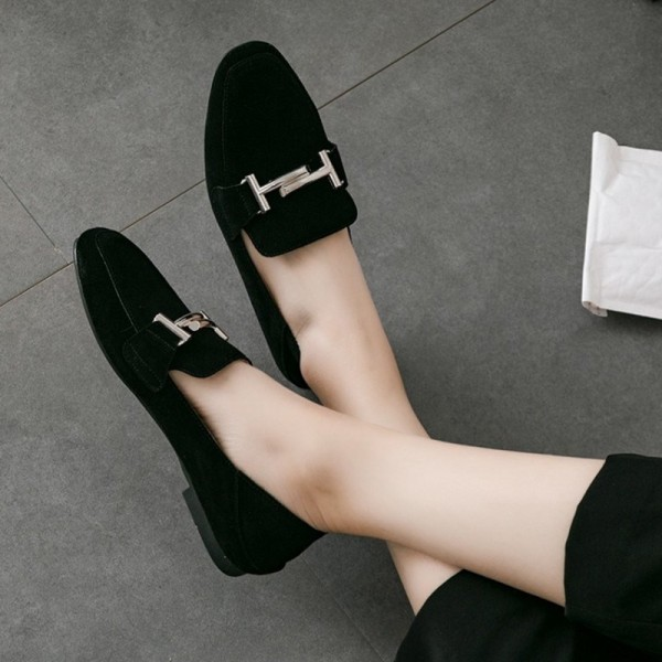 Black Suede Square Toe Vintage Flat Loafers for Women US Size 3-15 image 1