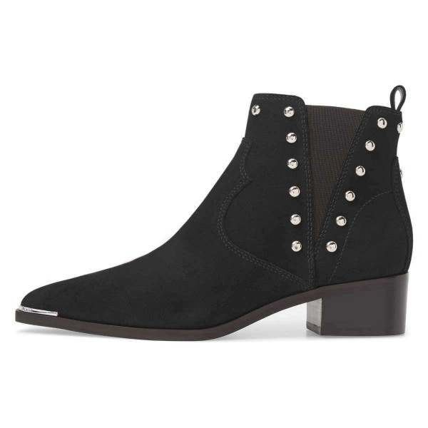 Black Suede Studs Chelsea Boots Chunky Heel Ankle Booties image 2