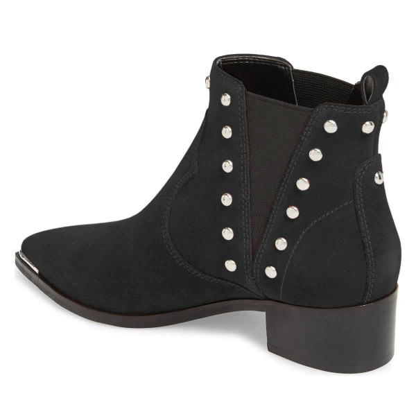 Black Suede Studs Chelsea Boots Chunky Heel Ankle Booties image 3