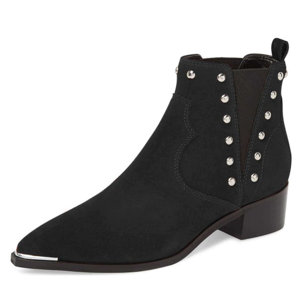 Black Suede Studs Chelsea Boots Chunky Heel Ankle Booties image 1