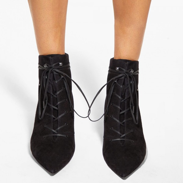 Black Suede Studs Lace Up Boots Low