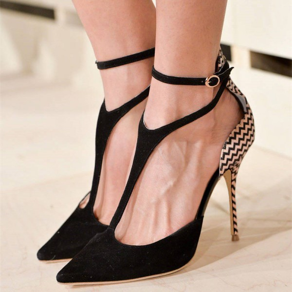 Women's Black Ankle Strap Stiletto Heels Pointed Toe Pumps Shoes image 1
