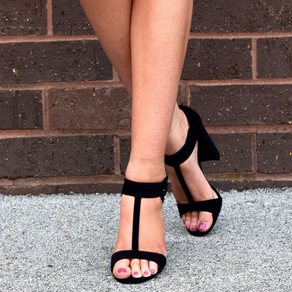 Black Suede T Strap Sandals Chunky Heel Office Sandals image 1