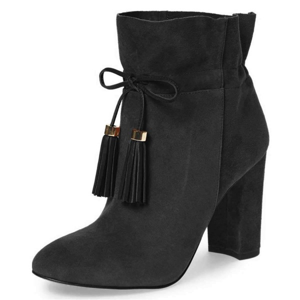 Black Suede Tassel Chunky Heel boots Ankle Boots image 1