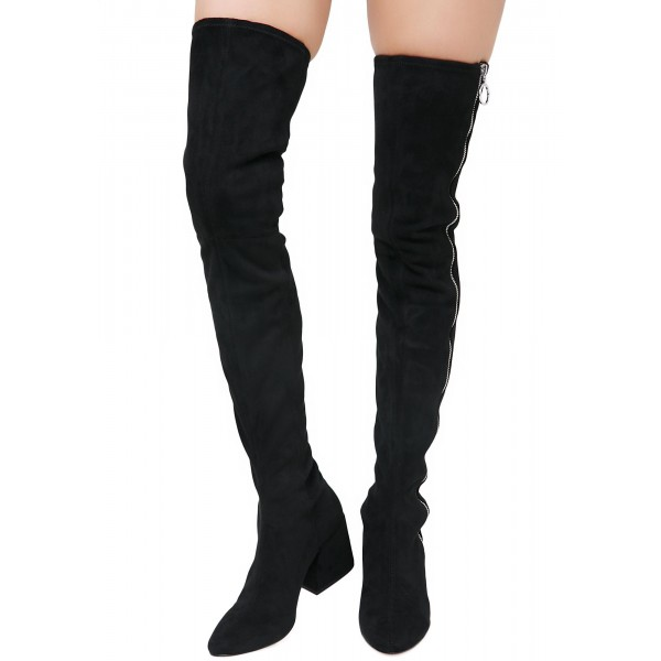 Black Suede Zip Long Boots Block Heel Sexy Thigh High Boots image 4