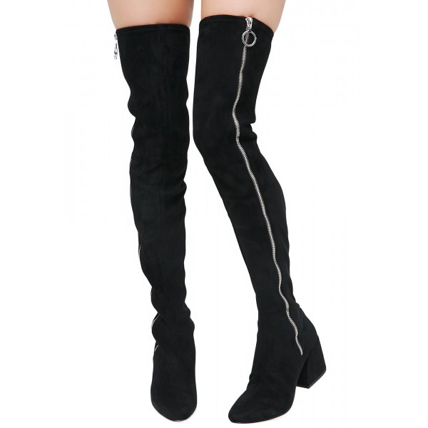 Black Suede Zip Long Boots Block Heel Sexy Thigh High Boots image 3