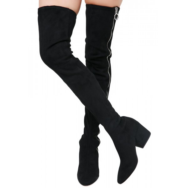 3ce826ad566 Black Suede Zip Long Boots Block Heel Sexy Thigh High Boots