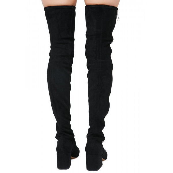 Black Suede Zip Long Boots Block Heel Sexy Thigh High Boots image 5