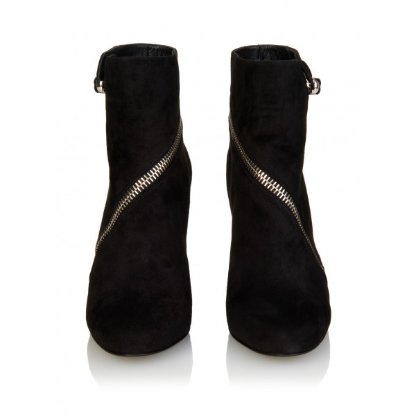 Black Suede Zip Wedge Booties Ankle Boots image 3