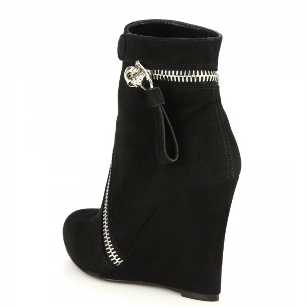 Black Suede Zip Wedge Booties Ankle Boots image 2