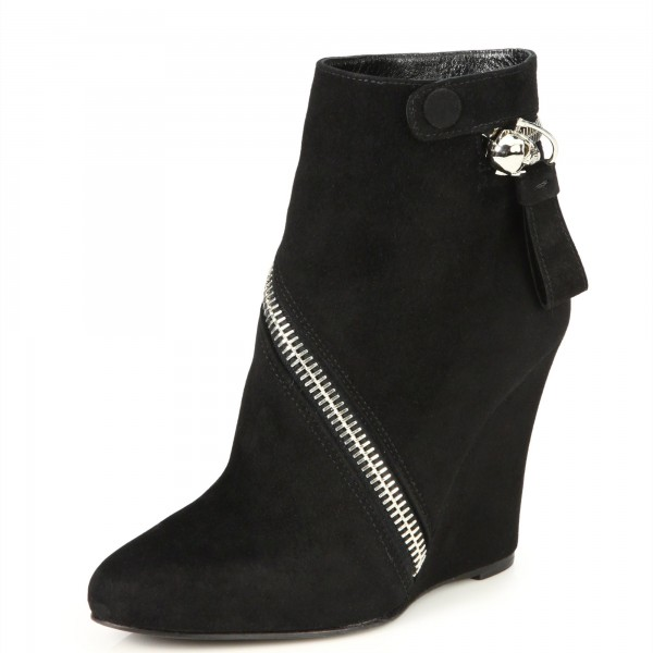 Black Suede Zip Wedge Booties Ankle Boots image 1