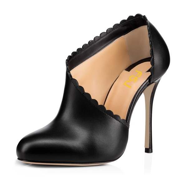 Black Summer Boots Laciness Cut out Closed Toe Stiletto Heel Booties image 1