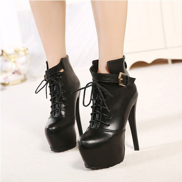 Black Lace up Boots Stiletto Heel Platform Ankle Booties image 2