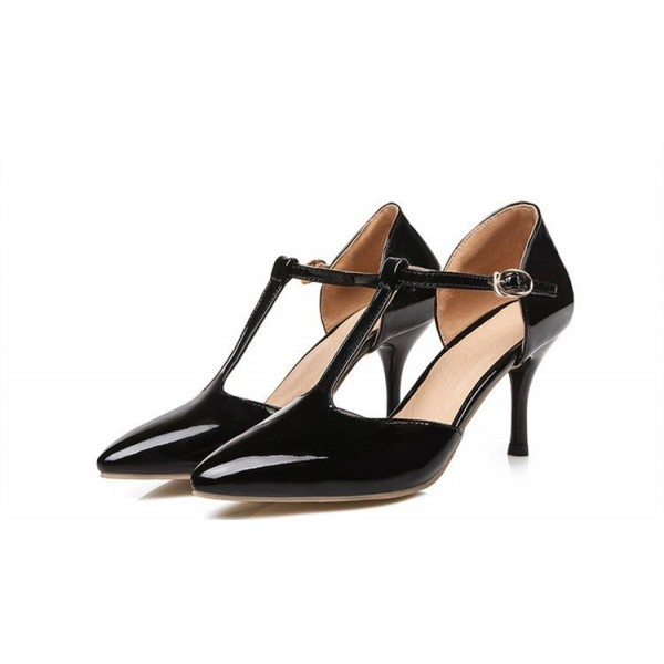 Black T Strap Heels Pointy Toe Patent Leather Stiletto Heels Pumps image 3