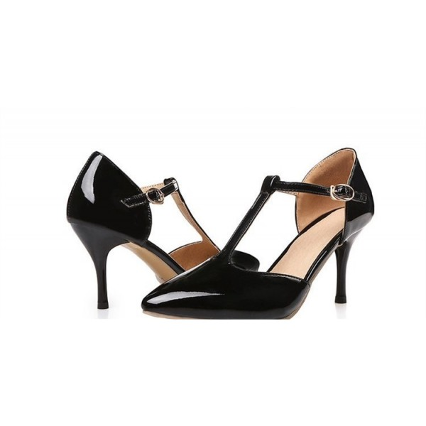 Black T Strap Heels Pointy Toe Patent Leather Stiletto Heels Pumps image 2