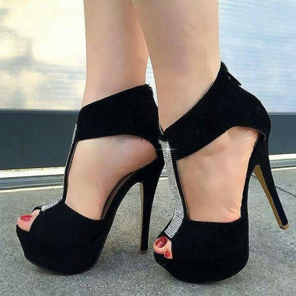 Black T-Strap Pumps Rhinestone Stiletto Heel Platform Shoes image 1