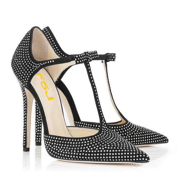 Black T Strap Pumps Pointy Toe Studs Stiletto Heels  image 7