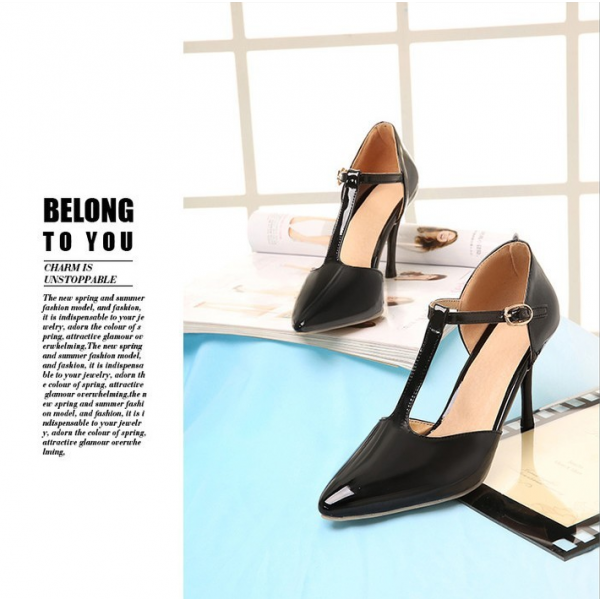 Black T Strap Heels Pointy Toe Patent Leather Stiletto Heels Pumps image 4