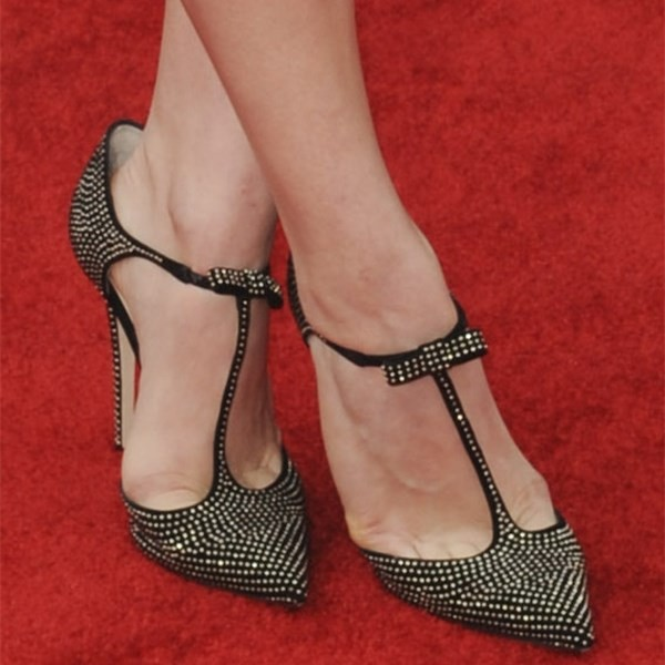 Black T Strap Pumps Pointy Toe Studs Stiletto Heels  image 3