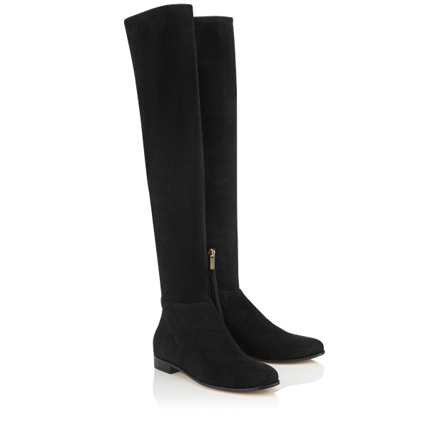 Black Flat Thigh High Boots Round Toe Suede Long Boots image 6