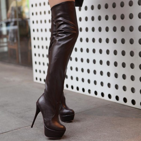 Black Thigh High Heel Boots Platform Stiletto Heel Long Boots image 3