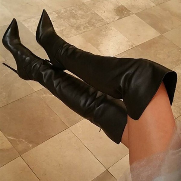 Black Thigh High Heel Boots Stiletto Heel Pointy Toe Boots image 1